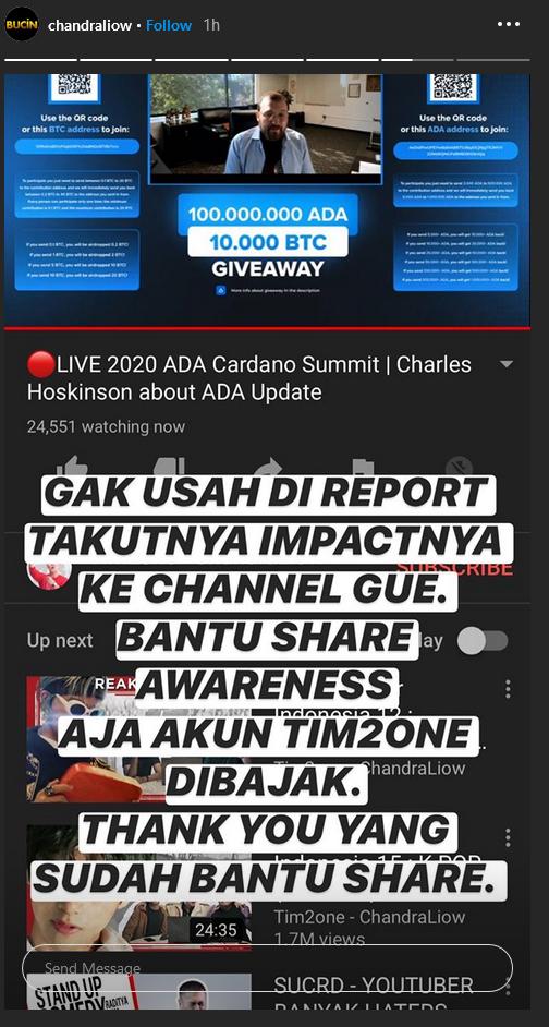 Youtube Chandraliow Berhasil diretas